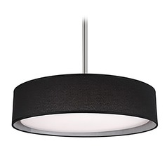 Modern Brushed Nickel LED Pendant with Black Shade 3000K 966LM