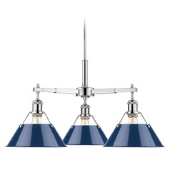 Golden Lighting Orwell Chrome Chandelier with Navy Empire Shade