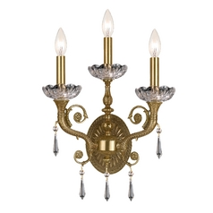 Crystal Sconce Wall Light in Aged Brass Finish