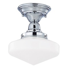Design Classics Lighting 8-Inch Schoolhouse Ceiling Light in Chrome Finish FBS-26 / GE8