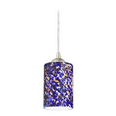 Design Classics Lighting Modern Mini-Pendant Light with Blue Glass 582-09 GL1009C