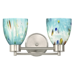 Two Light Satin Nickel Turquoise Art Glass Bathroom Wall Light