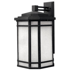 Black Outdoor Wall Lantern with White Linen Glass