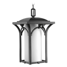Outdoor Hanging Light with White Glass in Black Finish