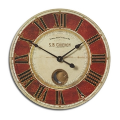 Clock in Red Finish