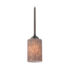 Design Classics Lighting Modern Mini-Pendant Light with Brown Art Glass 581-220 GL1016C