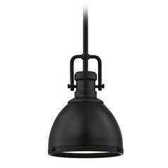 Farmhouse Industrial Black Small Pendant Light 7.38-Inch Wide