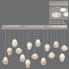 Fine Art Lamps Natural Inspirations Platinized Silver Leaf Multi-Light Pendant with Oblong Shade