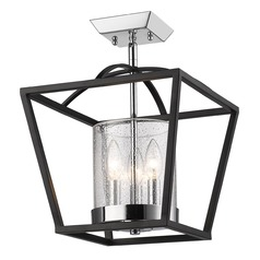 Seeded Glass Semi-Flushmount Light Black Golden Lighting