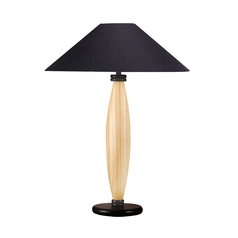 Table Lamp with Black Shade in Natural / Black Finish