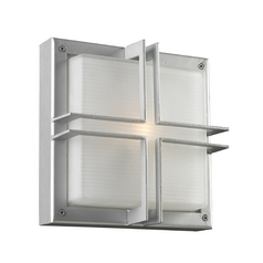 Modern Outdoor Wall Light with White Glass in Silver Finish