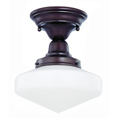 Design Classics Lighting 8-Inch Schoolhouse Ceiling Light in Bronze Finish FBS-220 / GE8