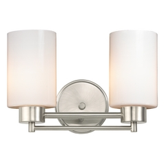 Design Classics Lighting Modern Bathroom Light with White Glass in Satin Nickel Finish 702-09 GL1024C