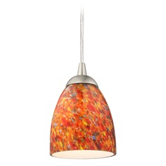 Design Classics Gala Fuse Satin Nickel LED Mini-Pendant Light with Bell Shade