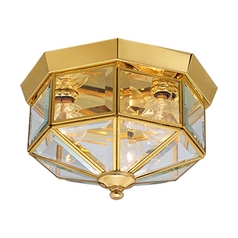 Progress Brass Outdoor Ceiling Light with Clear Glass