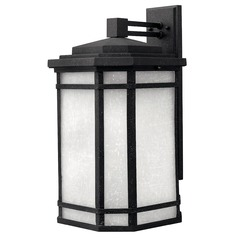 LED Outdoor Wall Light with White Glass in Vintage Black Finish