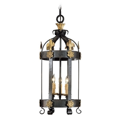 Pendant Light in French Black with Gold Leaf Finish