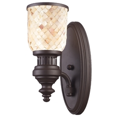 Vintage Style Mosaic Sconce Wall Light in Oiled Bronze Finish
