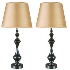 Table Lamp Set with Taupe Shade in Oil Rubbed Bronze Finish