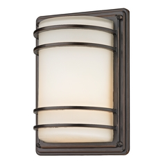 Bronze Outdoor Wall Light with Frosted White Glass