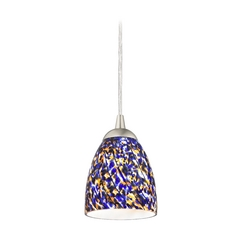 Design Classics Lighting Modern Mini-Pendant Light with Blue Glass 582-09 GL1009MB