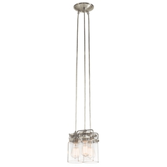 Kichler Lighting Brinley Brushed Nickel Multi-Light Pendant with Cylindrical Shade