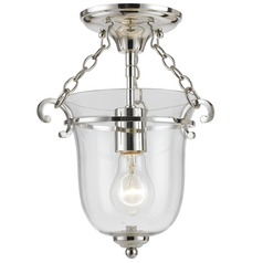 Crystorama Lighting Pendant Polished Nickel Mini-Pendant Light with Bowl / Dome Shade