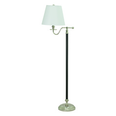 House Of Troy Bennington Black / Polished Nickel Floor Lamp with Empire Shade