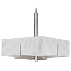 Modern Pendant Light with White Shades in Satin Nickel Finish