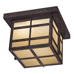 Close To Ceiling Light with Beige / Cream Glass in Iron Oxide Finish