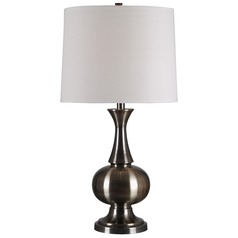 Table Lamp with Beige / Cream Shade in Antique Brass Finish