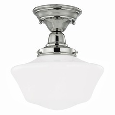 10-Inch Schoolhouse Semi-Flushmount Ceiling Light