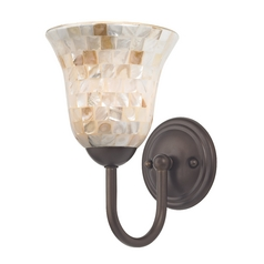Sconce with Mosaic Glass in Bronze Finish