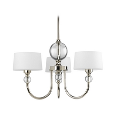 Progress Modern Chandelier with White Glass in Polished Nickel Finish