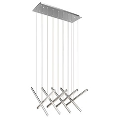 Elan Lighting Railways Chrome + Satin Aluminum LED Multi-Light Pendant