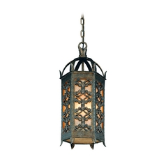 Troy Lighting Outdoor Hanging Light with Amber Glass in Charred Gold Finish FF9907CG