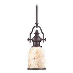 Mini-Pendant Light with Beige / Cream Glass