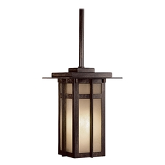Outdoor Hanging Light with Beige / Cream Glass in Iron Oxide Finish