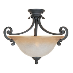 Semi-Flushmount Light with Beige / Cream Glass in Natural Iron Finish