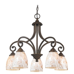 Chandelier with Beige / Cream Glass in Bronze Finish