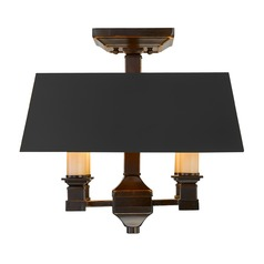 Golden Lighting Bradley Cordoban Bronze Semi-Flushmount Light
