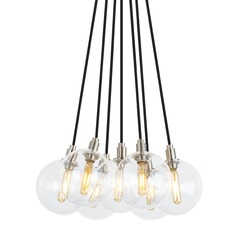 Mid-Century Modern Satin Nickel LED Multi-Light Pendant by Tech Lighting