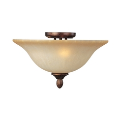 Semi-Flushmount Light with Beige / Cream Glass in Filbert Finish