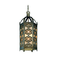 Troy Lighting Outdoor Hanging Light with Amber Glass in Charred Gold Finish F9908CG