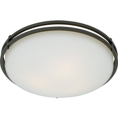 Modern Flushmount Light with White Glass in Iron Gate Finish
