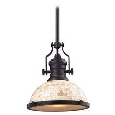 Pendant Light with Beige / Cream Glass in Oiled Bronze Finish