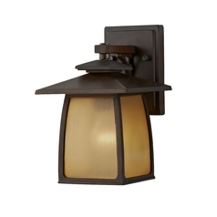 Outdoor Wall Light with Beige / Cream Glass in Sorrel Brown Finish