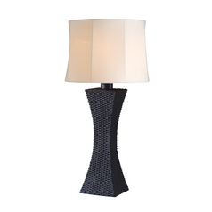 Table Lamp with Beige / Cream Shade in Bronze Finish
