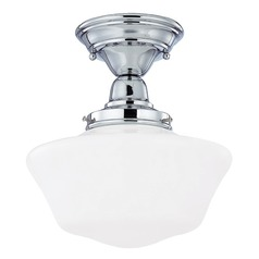 Design Classics Lighting 10-Inch Schoolhouse Ceiling Light in Chrome Finish FBS-26 / GA10