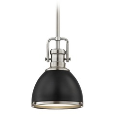 Industrial Small Pendant Light Black and Satin Nickel 7.38-Inch Wide